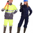 Bricklayer and builder — Stock Photo