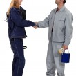 A painter and an electrician shaking hands. — Stock Photo #17353445