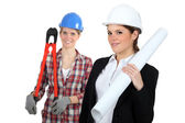 Females construction workers — Foto Stock