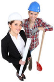 Businesswoman and craftswoman posing together — Stockfoto