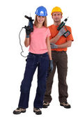 Portrait of a team of tradespeople — Stock Photo