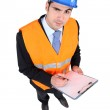 Architect stood with clipboard — Stock Photo