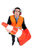 Stern man with ear defenders — Stock Photo