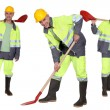 Stock Photo: Multiple shot of mwith shovel