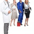 Doctor with stethoscope and clipboard, mechanic, doctor and secretary. - 