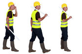 Three profile images of a workman in a reflective vest — Stock Photo