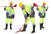 Multiple shot of man with shovel — Stock Photo