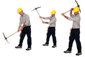 Multiple image of man using pick-ax — Stock Photo