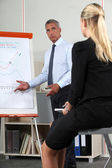 Businessman giving presentation with aid of flip-chart — Stock Photo