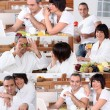 Collage of a couple having breakfast — ストック写真