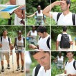 Stock Photo: Hiking montage