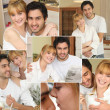 Collage of a loving couple — Stock Photo