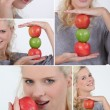 Montage of woman holding red and green apples — Stock Photo
