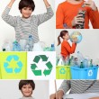 Collage of children recycling — Stock Photo