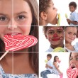 Stock Photo: Montage of children with candy