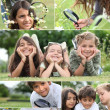 Montage of kids playing with magnifying glass — Stock Photo