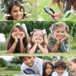 Stock Photo: Montage of kids playing with magnifying glass