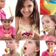 Montage of children eating sweets — Stock Photo