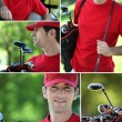 Collage of a golfer - Stock Photo