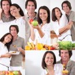 Foto Stock: Couple eating healthy food