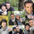 Collage of portraits of a couple in the countryside — Stock Photo