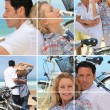 Collage of a couple with bikes by the sea — Stock Photo