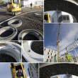 Montage of construction site - Stockfoto