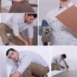 Montage of a man putting down a wooden floor — Stock Photo