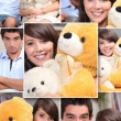 Stock Photo: Montage of couple with cuddly toys