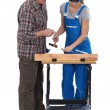 Stock Photo: Carpenter training young female apprentice