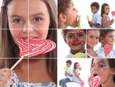 Montage of children with candy — Stock Photo