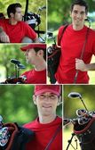 Collage of a golfer — Stock Photo