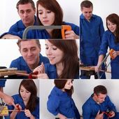 Montage of young female carpenter — Stock Photo