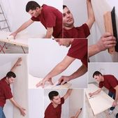 Montage of man wallpapering — Stock Photo