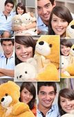 Montage of couple with cuddly toys — Stock Photo