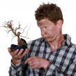 Electrocuted man holding a plant - Stock Photo