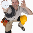 Electrician with a smoke alarm — Stock Photo