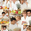 Mosaic of couple having breakfast together — Stock Photo