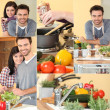Happy couple enjoying cooking — Foto de Stock