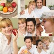 Montage of couple eating a nice healthy breakfast together — Stock Photo