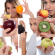 Mosaic of woman with various fruit — Stock Photo
