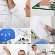 Royalty-Free Stock Photo: Montage of architect drawing plans to new project