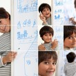 Little boy drawing with marker — Stock Photo #17621203