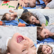 Montage of happy little boy at home — Stock Photo