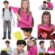 Montage of little boy and girl with rucksacks — Stock Photo