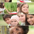Montage of kids playing in the park - Stock Photo