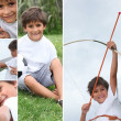 Stock Photo: Montage of little boy with bow and arrow