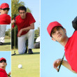 Collage of a man playing golf — Stock Photo