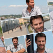 Montage of a man on a promenade - Stock Photo