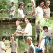 Father and son bonding during fishing trip — Foto Stock #17621329
